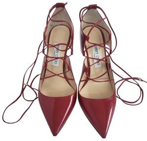 Jimmy Choo Hoops Lace Up Pointed Red Patent leather Pumps