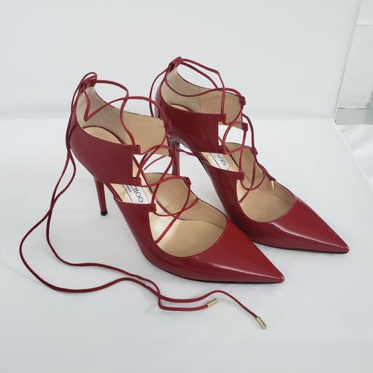 Jimmy Choo Hoops Lace Up Pointed Red Patent leather Pumps Image 1