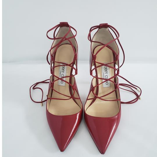 Jimmy Choo Hoops Lace Up Pointed Red Patent leather Pumps Image 10
