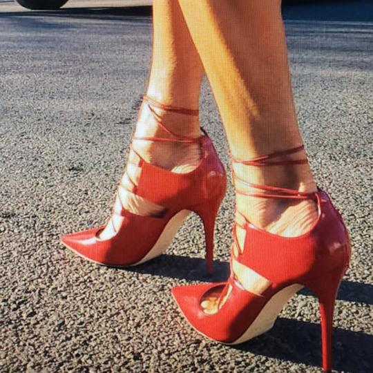 Jimmy Choo Hoops Lace Up Pointed Red Patent leather Pumps Image 3