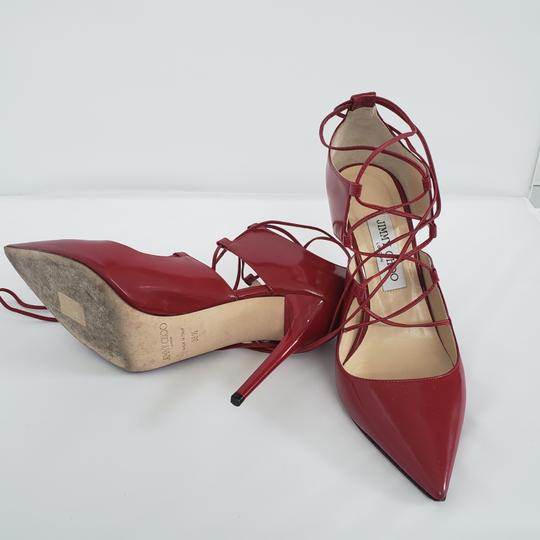 Jimmy Choo Hoops Lace Up Pointed Red Patent leather Pumps Image 5
