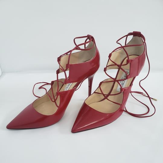 Jimmy Choo Hoops Lace Up Pointed Red Patent leather Pumps Image 8