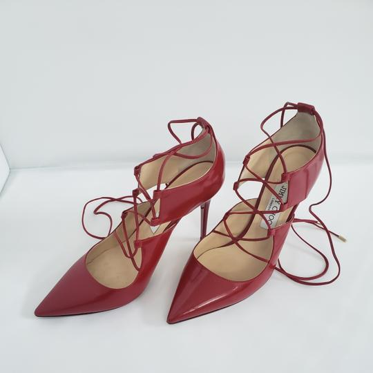 Jimmy Choo Hoops Lace Up Pointed Red Patent leather Pumps Image 9