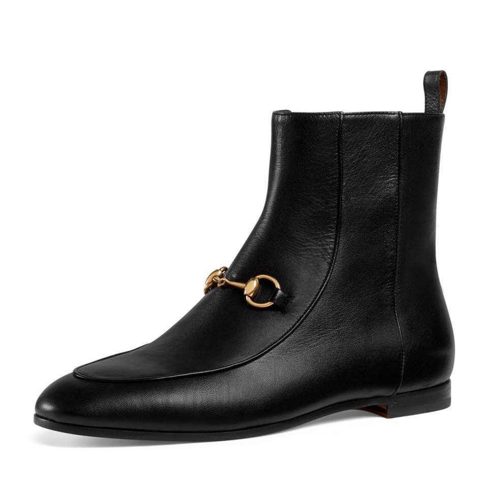 7c90e00f1f2 Gucci Black Horsebit Jordaan Leather Ankle Boots Booties Size US 7.5 ...