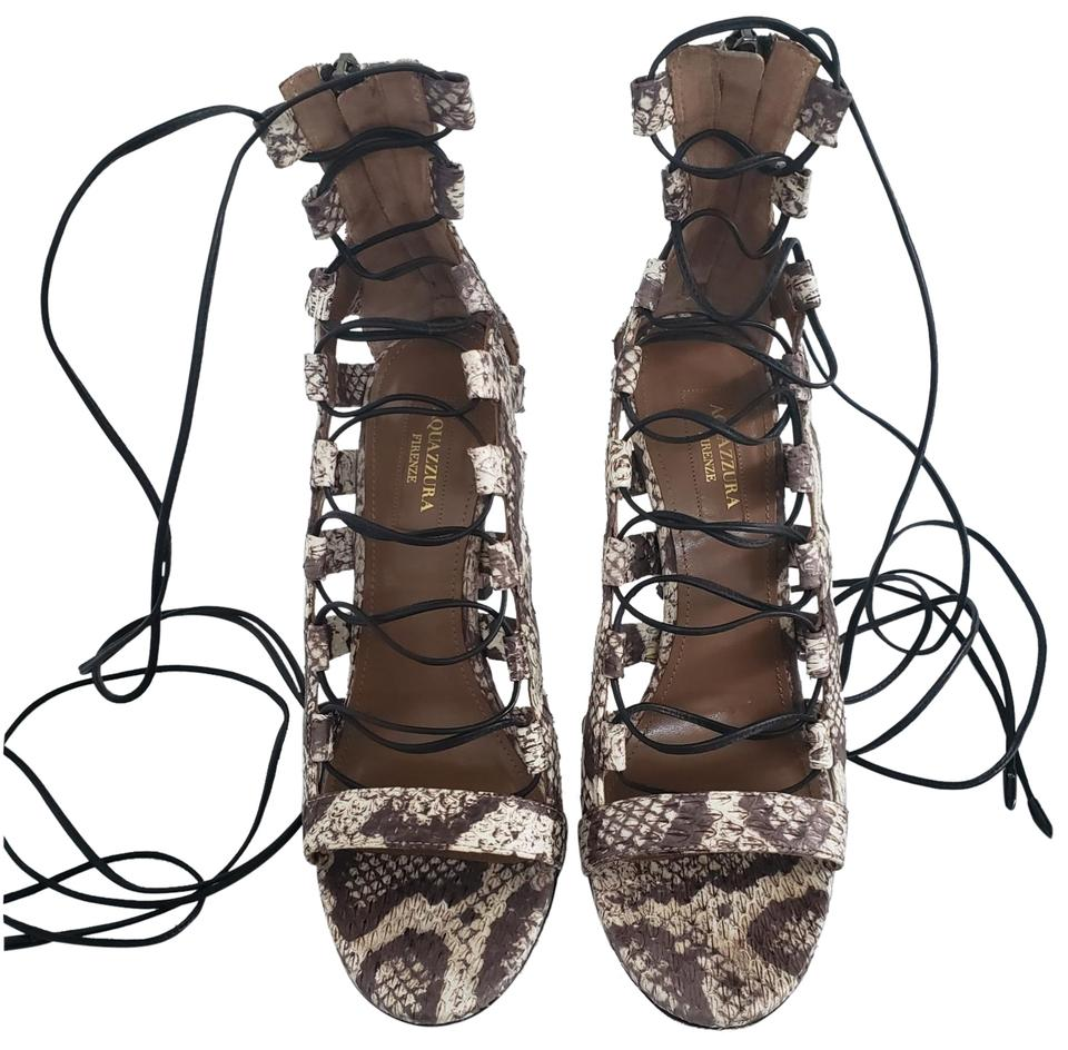 90766ad8be27 Aquazzura Kylie Jenner Lace Up Sandal Peep Toe Python print leather Pumps  Image 0 ...