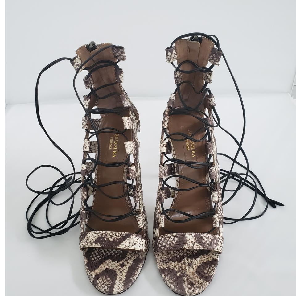68d6c3fb456 Aquazzura Python Print Leather Amazon Elaphe Sandals Pumps Size EU ...