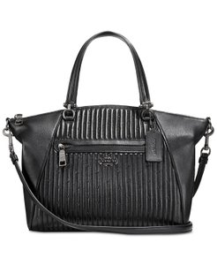 Coach Prairie Leather Studded Quilted Satchel in Black