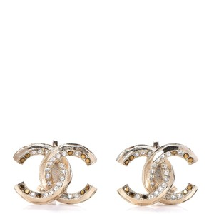 Chanel 2011 CHANEL Crystal CC Clip On Earrings Gold