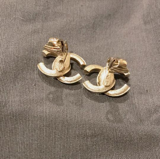Chanel 2011 CHANEL Crystal CC Clip On Earrings Gold Image 3