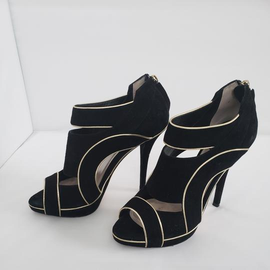 Dior Cut-out Trim Black suede with gold piping Boots Image 4