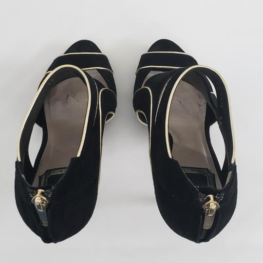 Dior Cut-out Trim Black suede with gold piping Boots Image 6