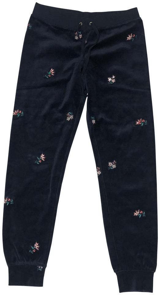 Juicy Couture Blue Floral Women s Regal Embroidered Velour Pants ... 479835670