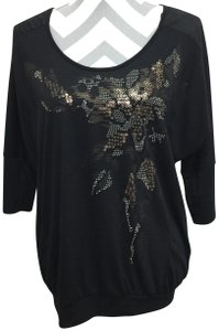Miss Me Sequin Studs Lace Dolman Sleeves Top Black