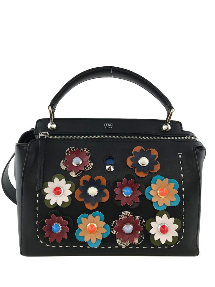 237e1d8bf1d4 Fendi Dotcom Flower Black Calfskin Leather Satchel - Tradesy