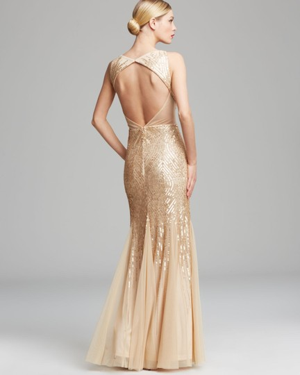 Adrianna Papell Gold Nude Sequins Beads Sheer Sleeveless V Neck Beaded with Illusion Cutouts Formal Bridesmaid/Mob Dress Size 10 (M) Image 1