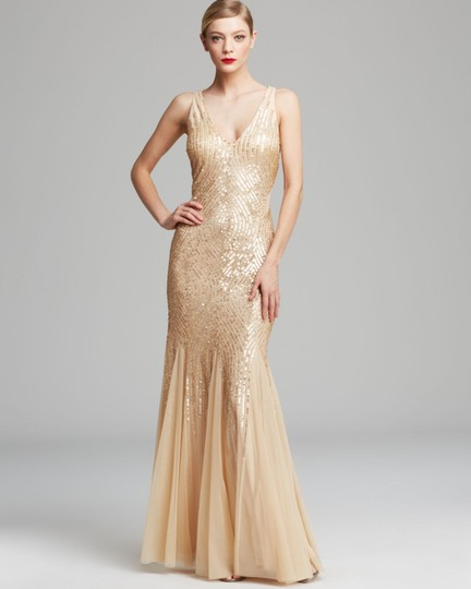 Adrianna Papell Gold Nude Sequins Beads Sheer Sleeveless V Neck Beaded with Illusion Cutouts Formal Bridesmaid/Mob Dress Size 10 (M) Image 2