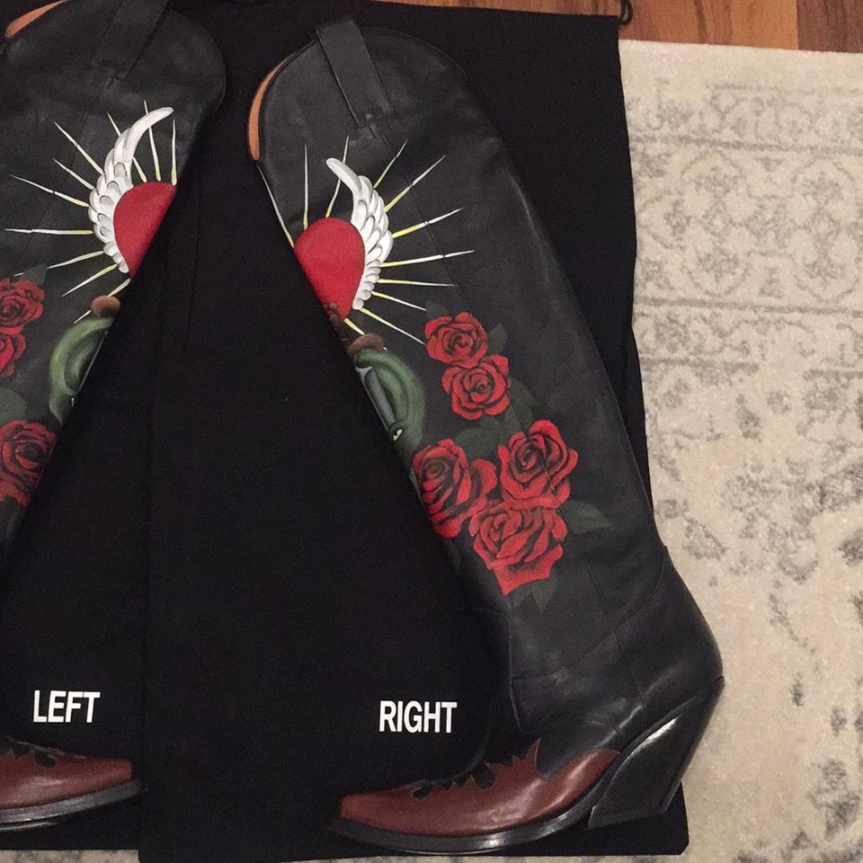 310a1e226ac Vetements Black Leather with Hand Painted Art Work Boots Booties ...