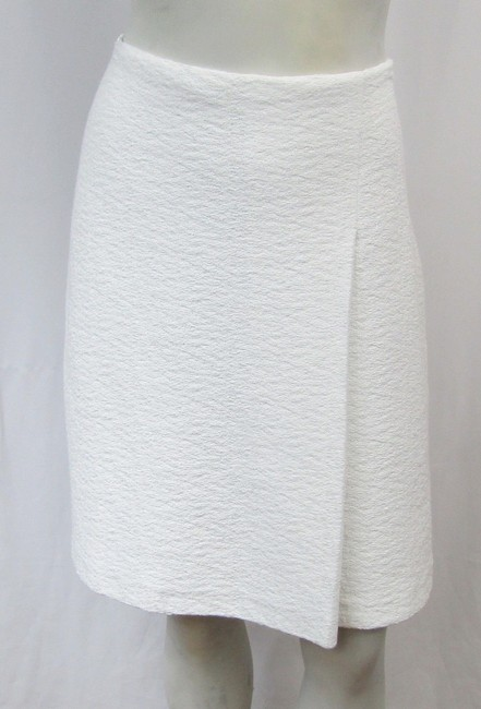 St. John Clair Knit Textured A-line Small Skirt white Image 1