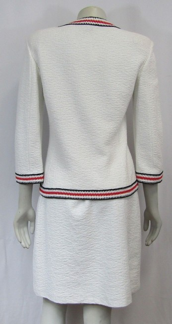 St. John Clair Knit Textured A-line Small Skirt white Image 2
