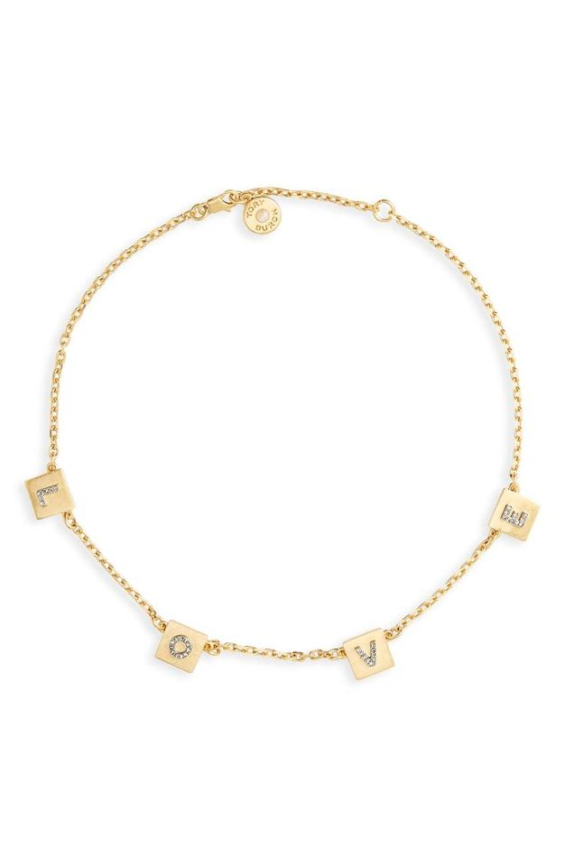 da586917944e2 Tory Burch Gold Love Message Delicate Choker Necklace 39% off retail