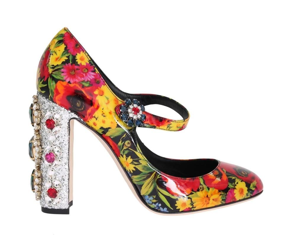 Dolce Gabbana Dolce   Gabbana Leather Floral Crystal Mary Janes Pumps 1ff252457d952