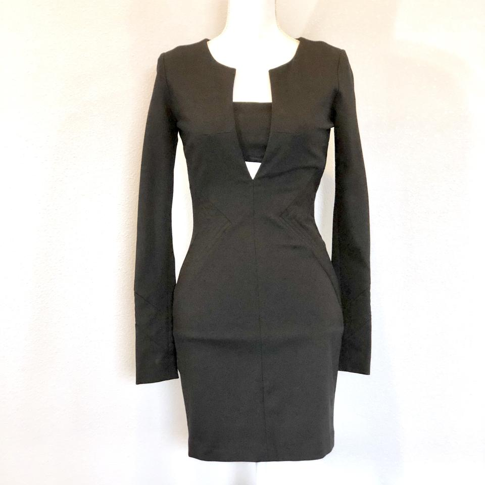 f255b69e56 Elizabeth and James Black Nwot Low V-neck Long Sleeve Fitted Party Short Night  Out Dress Size 4 (S) - Tradesy