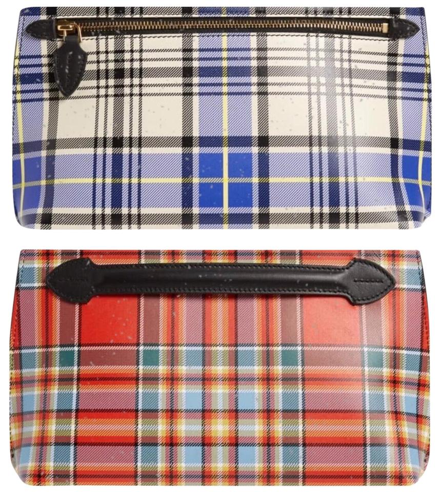 9dd477cba5e9 Burberry Tartan Plaid Leather Blue and Red Clutch Image 0 ...