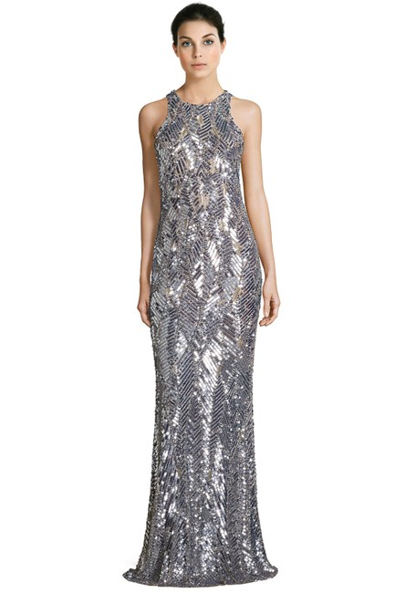 Item - Silver Black Seanna Embellished Sleeveless Evening Gown Long Formal Dress Size 4 (S)