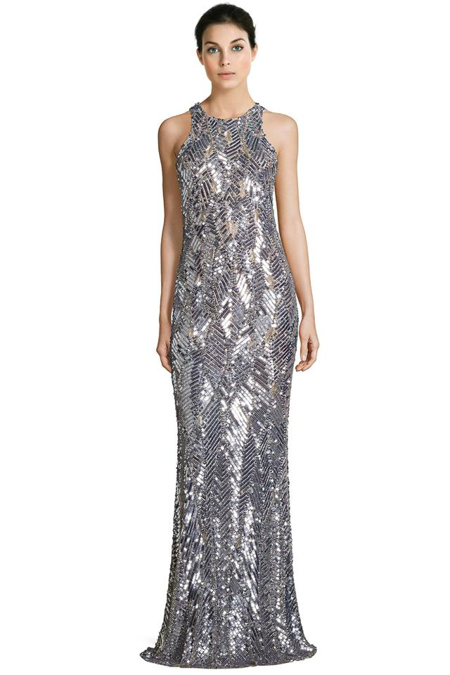 7fa6b952f3a Parker Silver Black Seanna Embellished Sleeveless Evening Gown Formal Dress
