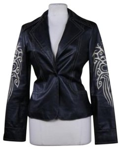 Sheri Bodell Lamb Embroidered Small black Leather Jacket