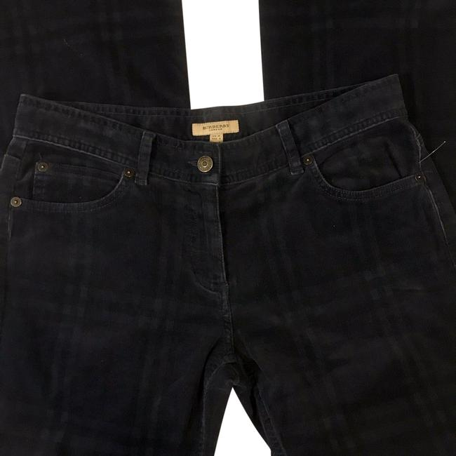 Item - Navy Dark Rinse Plaid Velvet-feel Corduroy Pants Flare Leg Jeans Size 32 (8, M)