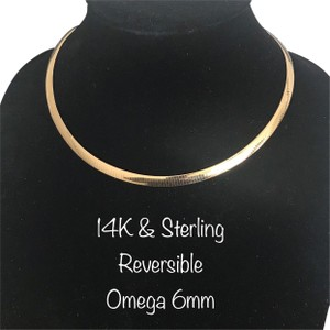 Aurafin Aurafin 14K & Sterling Silver Two-Tone Reversible Omega Necklace