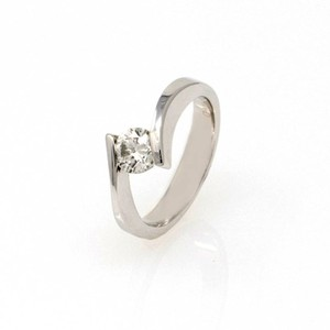 White Gold 14k Contorted Solitaire Diamond (0.59 Ct) Engagement Ring