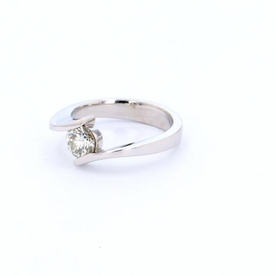 White Gold 14k Contorted Solitaire Diamond (0.59 Ct) Engagement Ring Image 3