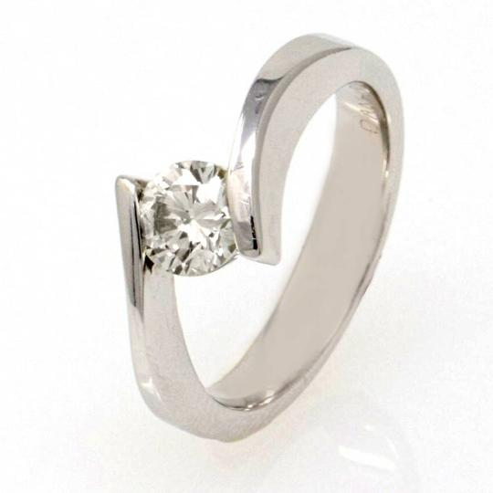 White Gold 14k Contorted Solitaire Diamond (0.59 Ct) Engagement Ring Image 2