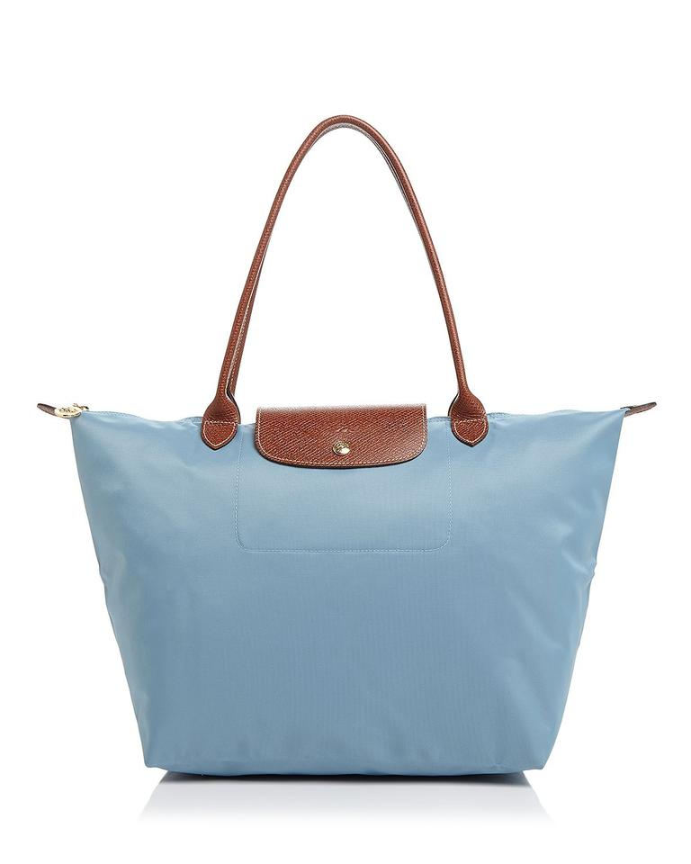 Longchamp Le Pliage Large Shoulder Arctico Blue Gold Nylon Leather ... eaf2efdbe67d2
