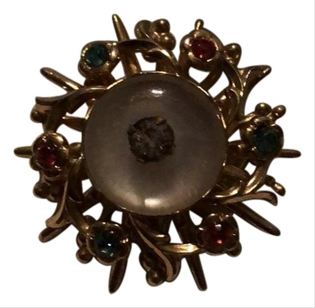 Item - Silver Pink Green Blue White Broach