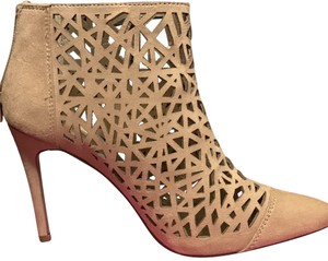 BCBGeneration Stiletto Heels Design Pointed Toes Suede Light Tan Laser Cut Boots