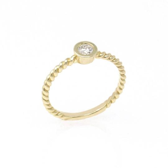 Yellow Gold 14k Braided Solataire Diamond (0.21 Ct) Engagement Ring Image 0