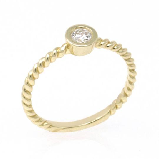 Yellow Gold 14k Braided Solataire Diamond (0.21 Ct) Engagement Ring Image 1