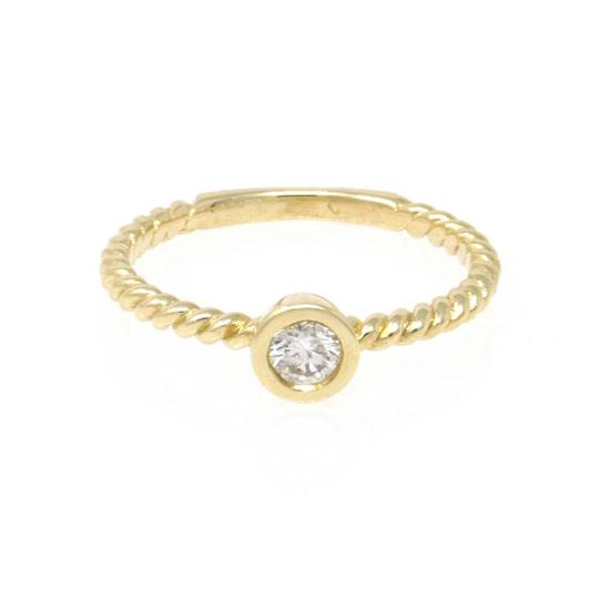 Yellow Gold 14k Braided Solataire Diamond (0.21 Ct) Engagement Ring Image 2