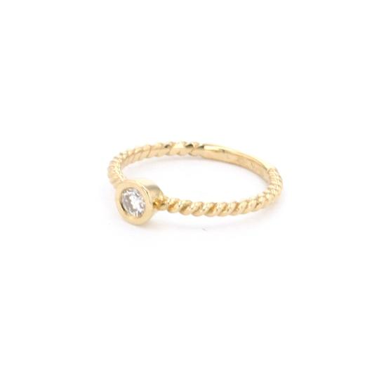Yellow Gold 14k Braided Solataire Diamond (0.21 Ct) Engagement Ring Image 3