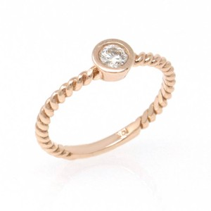 Rose Gold 14k Braided Solataire Diamond (0.21 Ct) Engagement Ring