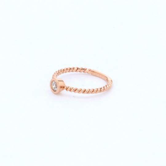 Rose Gold 14k Braided Solataire Diamond (0.21 Ct) Engagement Ring Image 3