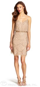 Adrianna Papell Champagne/Gold Polyester 041868910 Feminine Bridesmaid/Mob Dress Size 2 (XS)