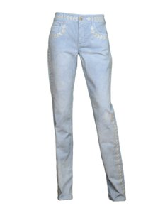 Chanel Cc Embroidered Skinny Jeans-Light Wash