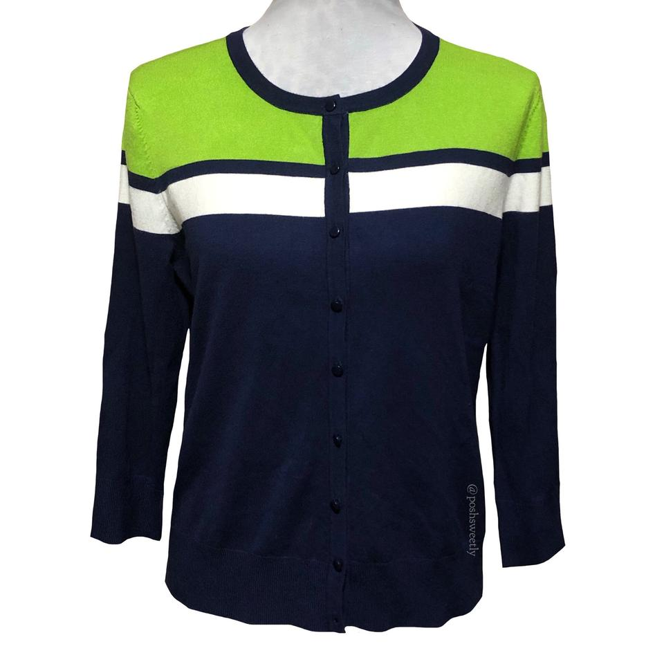 5b6b0c740b Cable   Gauge Blue Green White Navy Colorblock Striped Cardigan Size ...