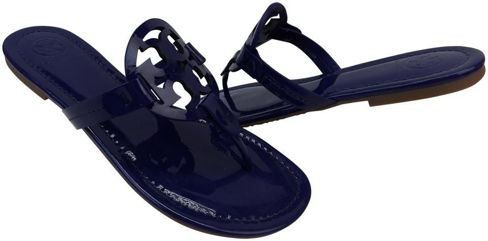 Tory Burch Blue Miller Bright Indigo Patent Leather Reva Thong Sandals Flats f72ca8dc77d