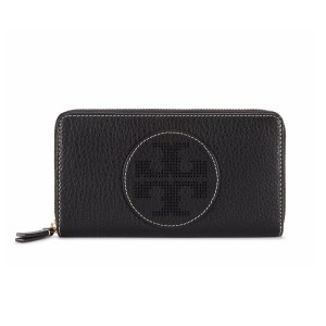 Tory Burch PERFORATED LOGO ZIP CONTINENTAL WALLET, BLACK
