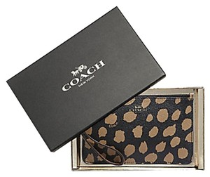 Coach Holiday Gift Box F39097 Animal Print Limited Edition Wristlet in Brown Black